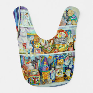 Baby's bib with toy shelf design on front