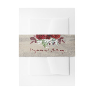 Baby's Breath and Burgundy Floral Rustic Invitation Belly Band