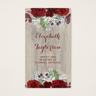 Baby's Breath and Burgundy Flowers Rustic Wood Business Card