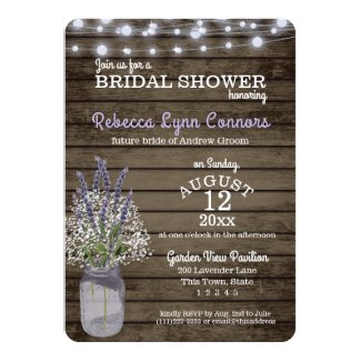 Baby's Breath and Lavender Rustic Bridal Shower Invitation