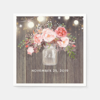 Baby's Breath and Pink Floral Mason Jar Rustic Paper Napkins