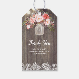 Baby's Breath and Pink Flowers Rustic Wedding Gift Tags