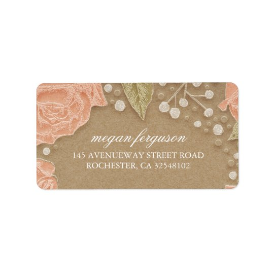 Baby's Breath and Pink Roses Wedding Label