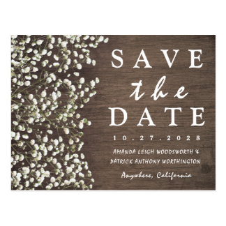 Baby's Breath Barn Wood Save The Date Cards