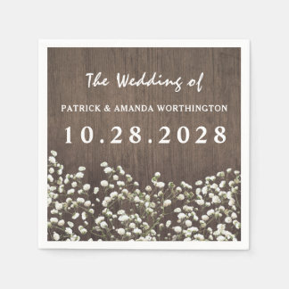 Baby's Breath Barn Wood Wedding Napkins Paper Napkins