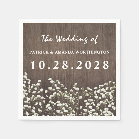 Baby's Breath Barn Wood Wedding Napkins Paper Napkins