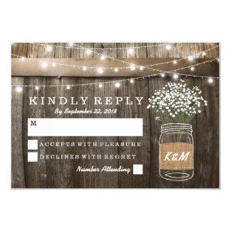 "Baby's Breath Barrel Country Rustic Wedding RSVP 3.5"" X 5"" Invitation Card"
