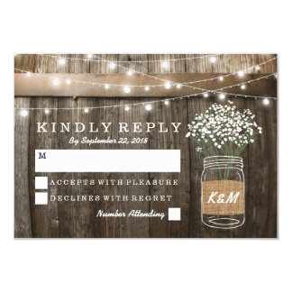 Baby's Breath Barrel Country Rustic Wedding RSVP Card