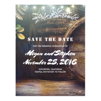 Baby's Breath Barrel Rustic Country Save the Date Postcard