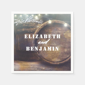 Baby's Breath Barrel Rustic Country Wedding Disposable Napkin