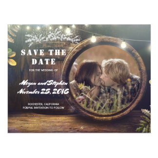 Baby's Breath Barrel Rustic Photo Save the Date Postcard