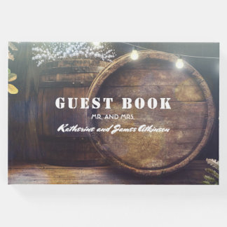 Baby's Breath Barrel Rustic Wood Wedding Guest Book