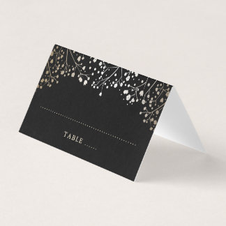 Baby's Breath Black and Gold Wedding Place Card