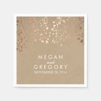 Baby's Breath Blush and Kraft Floral Wedding Disposable Napkin
