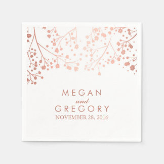 Baby's Breath Blush and White Floral Wedding Paper Napkins