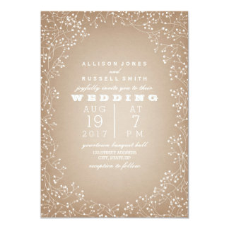 "Baby's Breath Border Cardstock Inspired 5"" X 7"" Invitation Card"