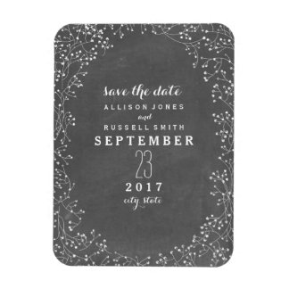 Baby's Breath Chalkboard Inspired Save The Date Magnet