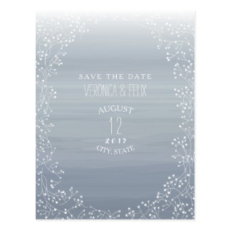 Baby's Breath Chambray Watercolor Save The Date Postcard