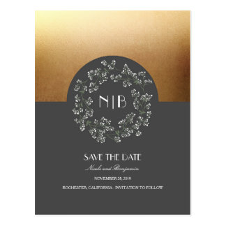 Baby's Breath Floral Wreath Gold Save the Date Postcard