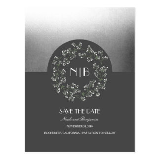 Baby's Breath Floral Wreath Silver Save the Date Postcard