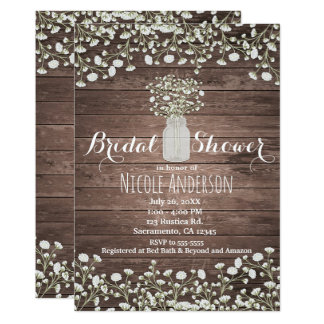 Baby's Breath Flowers Rustic Wood Bridal Shower Card