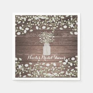 Baby's Breath Flowers Rustic Wood Bridal Shower Disposable Napkin