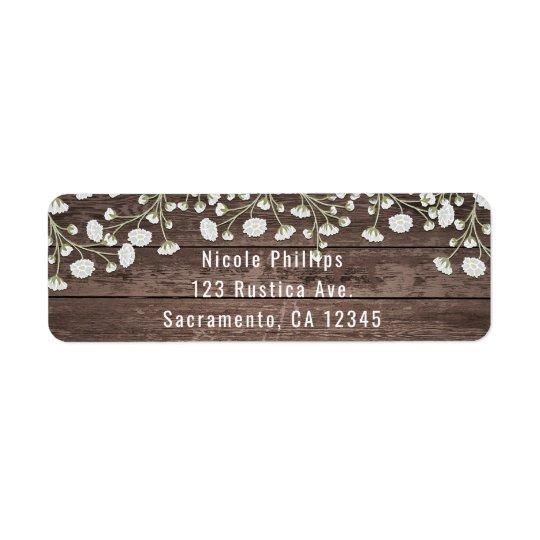Baby's Breath Flowers Rustic Wood Bridal Shower Return Address Label