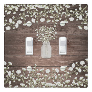 Baby's Breath Flowers Rustic Wood Farmhouse Chic Light Switch Cover
