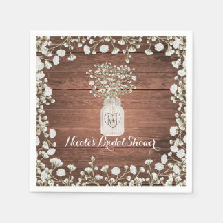 Baby's Breath Flowers & Wood Elegant Rustic Party Disposable Napkins
