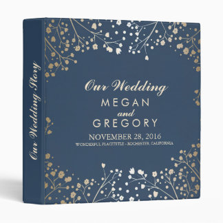 Baby's Breath Gold and Navy Wedding Vinyl Binders