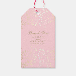 Baby's Breath Gold and Pink Wedding Pack Of Gift Tags
