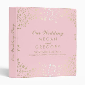 Baby's Breath Gold and Pink Wedding Vinyl Binders