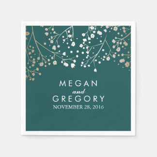 Baby's Breath Gold and Teal Floral Wedding Paper Napkins