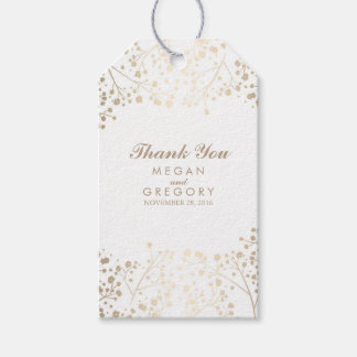 Wedding Gift Sticker Template : Babys Breath Gold and White Wedding Pack Of Gift Tags