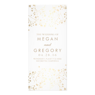 Baby's Breath Gold and White Wedding Programs