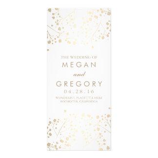 Baby's Breath Gold and White Wedding Programs Custom Rack Cards