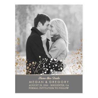 baby's breath gold foil photo save the date postcard