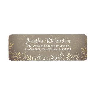 baby's breath gold foil wedding return address label
