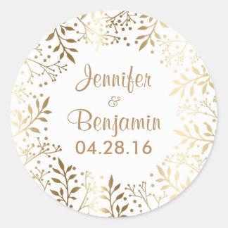 Baby's Breath Gold White Elegant Wedding Round Sticker