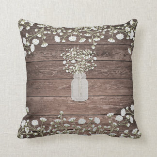 Baby's Breath in Mason Jar Rustic Wood Throw Pillow