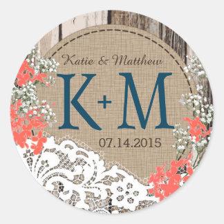 Baby's Breath Lace Rustic Monogram Wedding Label