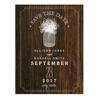Baby's Breath Mason Jar Barn Wood Save The Date Postcard