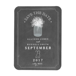 Baby's Breath Mason Jar Chalkboard Save The Date Rectangular Photo Magnet