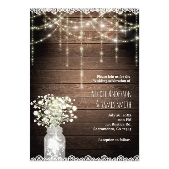 Baby's Breath Mason Jar Lights & Wood Wedding Card