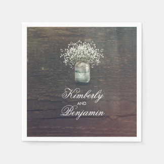 Baby's Breath Mason Jar Rustic Country Barn Paper Napkins