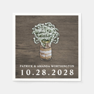 Baby's Breath Mason Jar Rustic Wedding Napkins Disposable Napkin