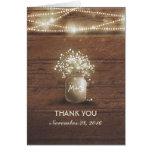 Baby's Breath Mason Jar Rustic Wedding Thank You Note Card
