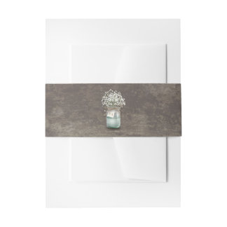 Baby's Breath Mason Jar Rustic Wood Wedding Invitation Belly Band