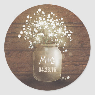 Baby's Breath Mason Jar Rustic Wood Wedding Round Sticker