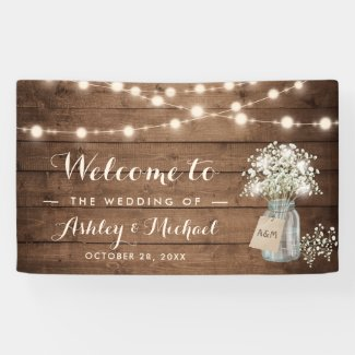 Baby's Breath Mason Jar String Lights Wedding Banner